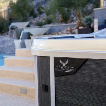Sleek modern design of this luxury hot tub,