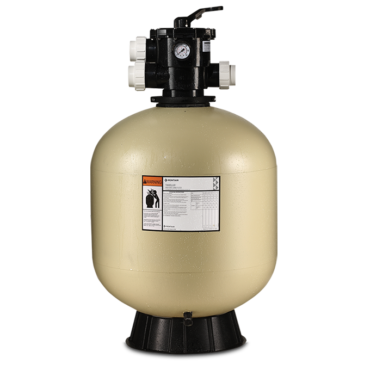 FIBERGLASS TANK WITH MULTIPORT VALVE, CLAMP STYLE Our process creates a one-piece, fiberglass reinforced tank with superior strength and durability. Tagelus Top Mount Filters are equipped with a six-position, top-mounted multiport valve.